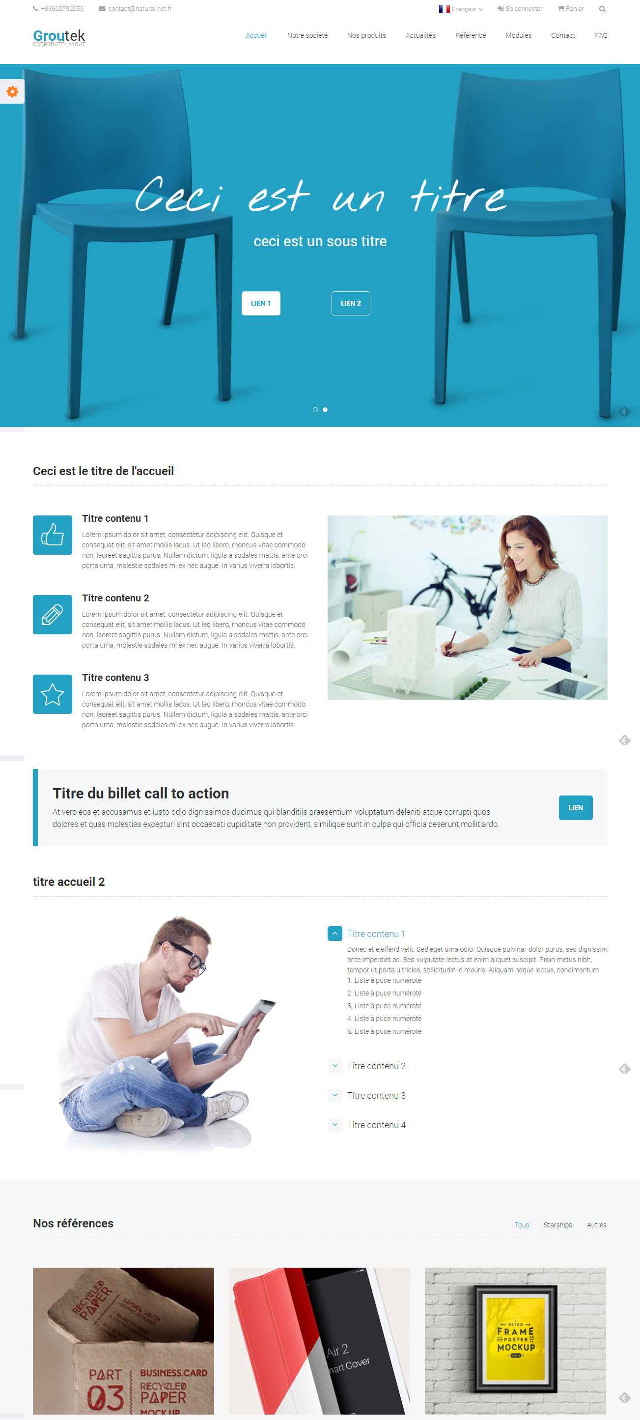 Onepage/Multipage ecommerce Template pour Kiubi